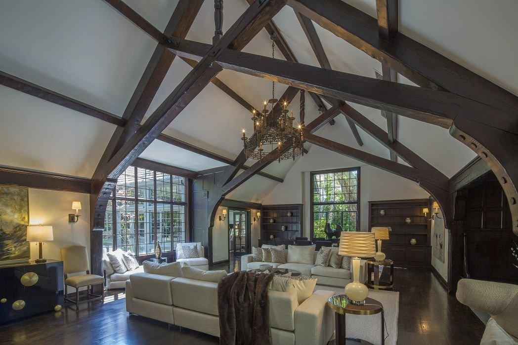 Living Room, Ceiling Lighting, Sofa, and Dark Hardwood Floor  Gerard Colcord-Designed Bel Air Estate