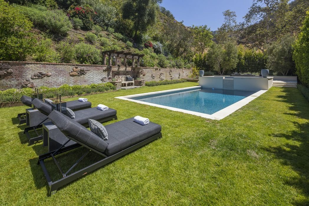 Outdoor, Large Pools, Tubs, Shower, Concrete Pools, Tubs, Shower, and Grass  Gerard Colcord-Designed Bel Air Estate