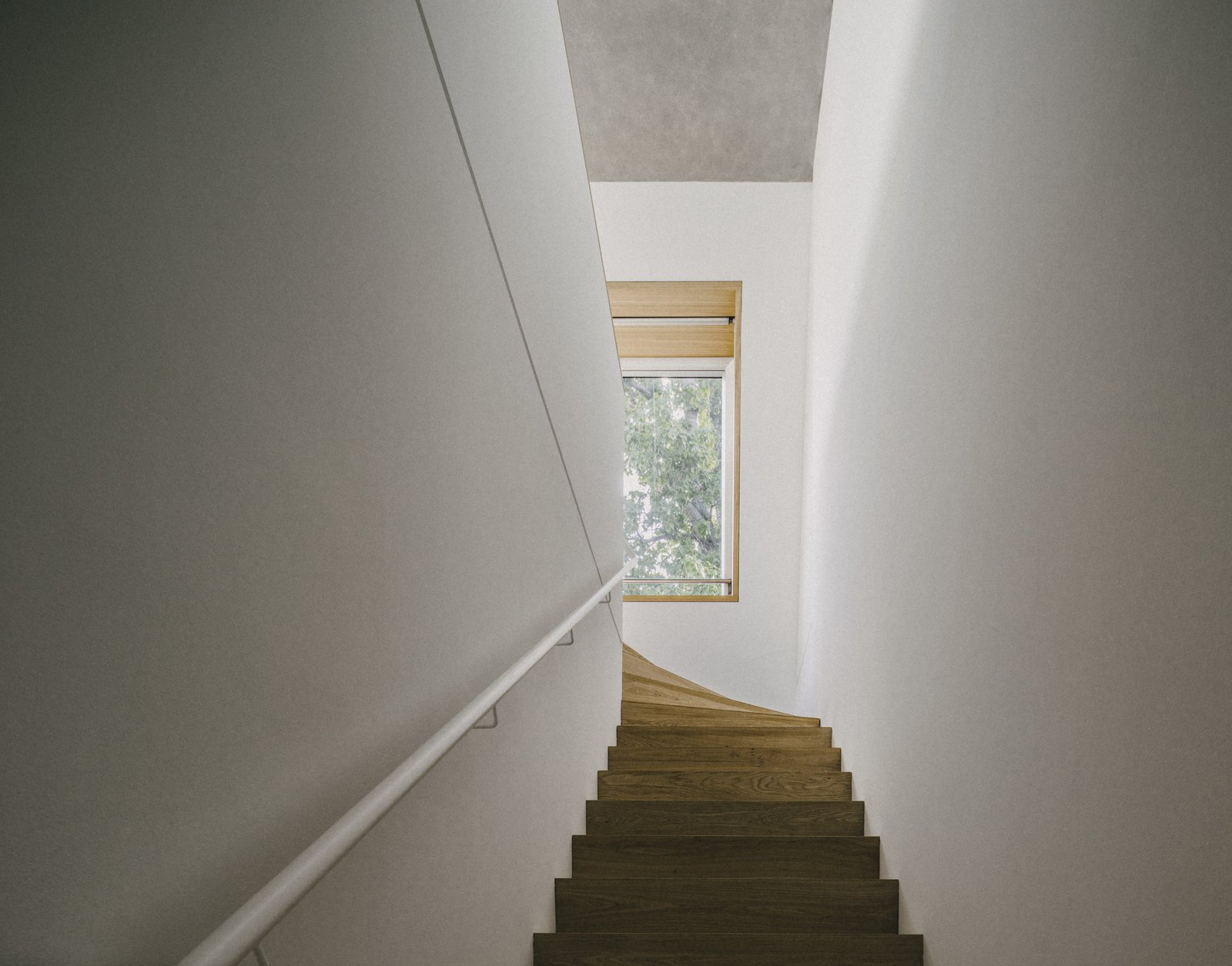 Metal Railing, Wood Tread, Wood, and Staircase  Apartment House Prenzlauer Berg by Barkow Leibinger