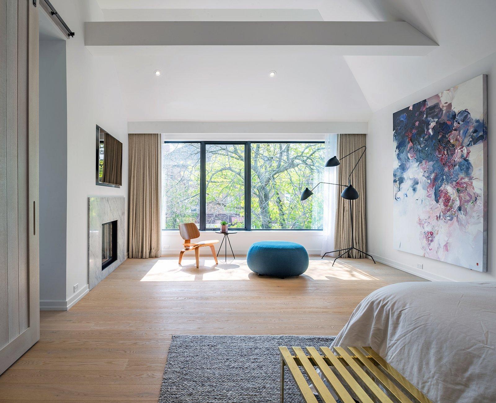Bedroom, Ceiling Lighting, Lamps, Bed, and Light Hardwood Floor  Richview Residence