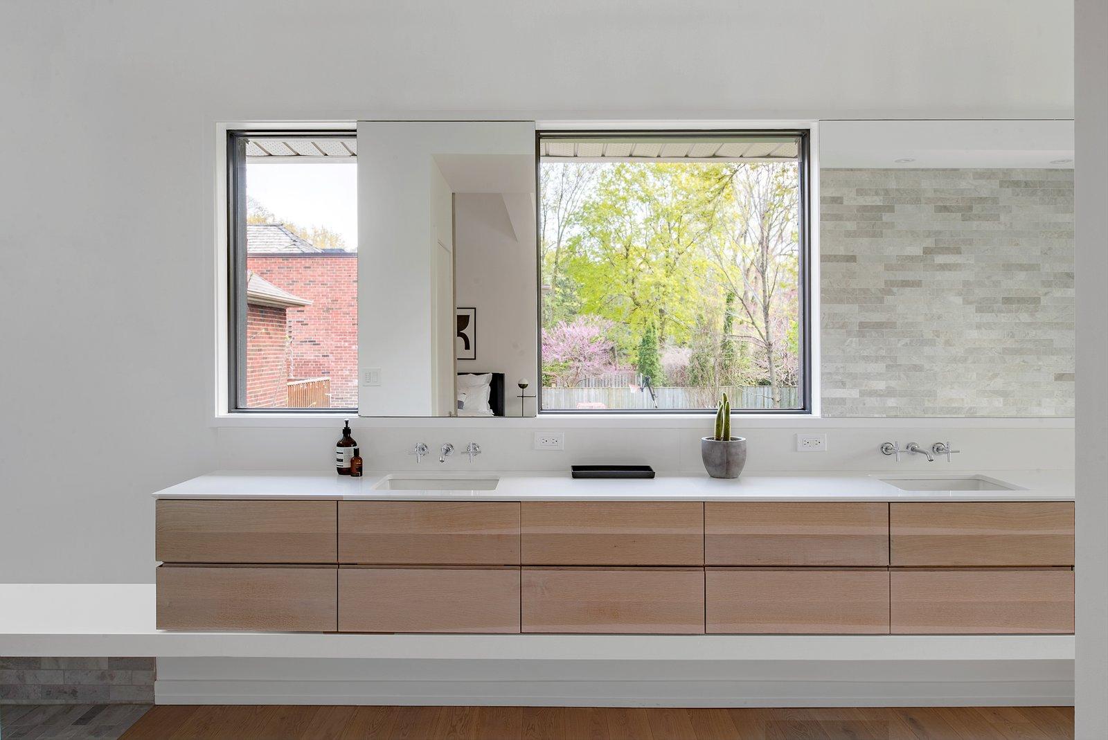 Bath Room, Engineered Quartz Counter, Light Hardwood Floor, Undermount Sink, Freestanding Tub, Open Shower, and Ceiling Lighting  Richview Residence