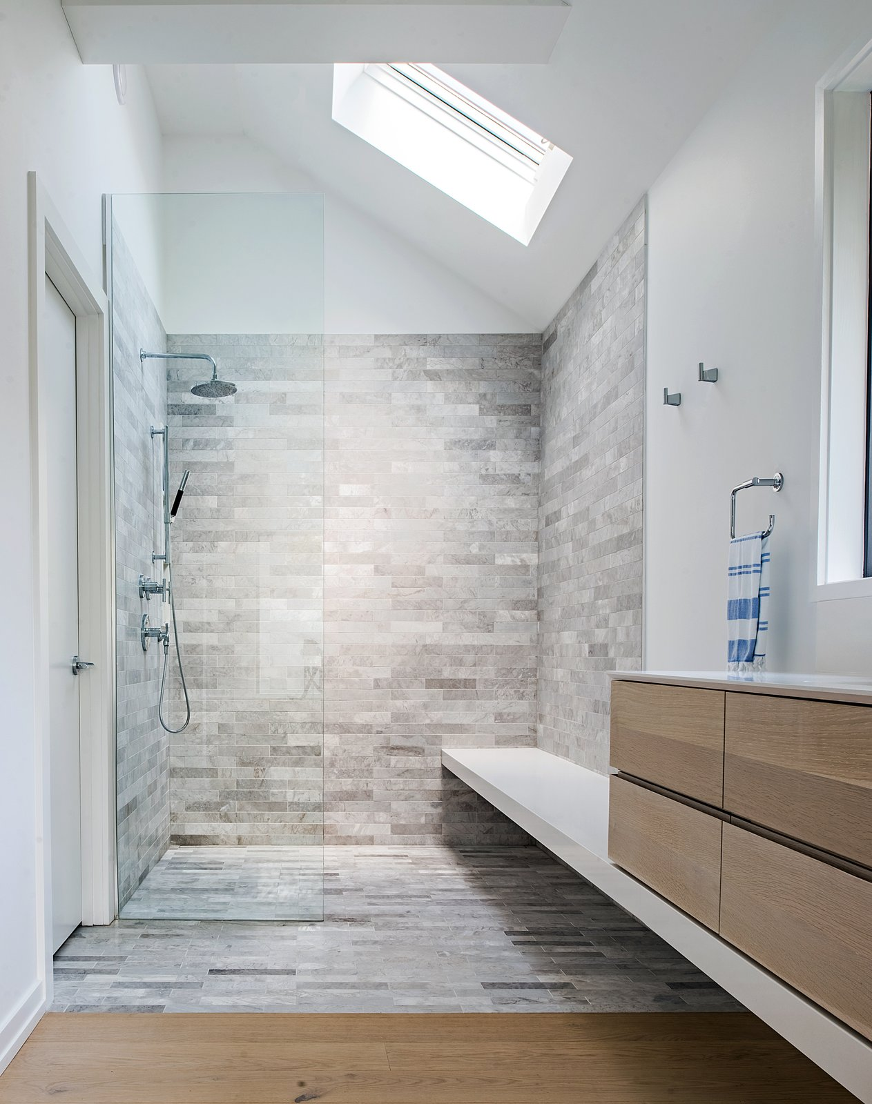 Tagged: Bath Room, Engineered Quartz Counter, Light Hardwood Floor, Freestanding Tub, Undermount Sink, Open Shower, Ceiling Lighting, and Stone Tile Wall.  Richview Residence