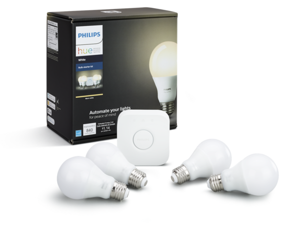 A Philips Hue White Bulbs starter kit (above), paired with a Hue motion sensor, dimmer switch, and Echo Dot smart speaker gives you voice- and motion- controlled lighting for under $200.