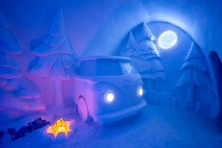 Spruce Woods, designed by Canadian artists Jennie O'Keefe and Chris Pancoe, reflects the passions of its festival—and nature—loving creators. An iconic VW van nestles in a forest of spruce trees illuminated by the lights of Aurora Borealis.