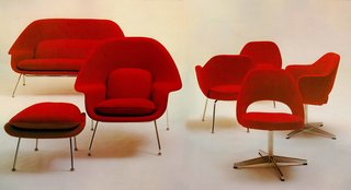 """The Saarinen Collection, first developed in the late 1940s, includes the iconic Womb Chair. Knoll asked Eero Saarinen to design a chair """"like a great big basket of pillows that I can curl up in."""""""