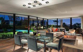 The home's large windows offer expansive views of downtown Los Angeles.