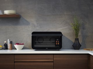 The June is a toaster oven, convection oven, air fryer, and slow cooker in one. Its 'smarts' include a built-in camera, so you can check on your food without getting off the couch; alerts to your phone when your food is almost ready; and simple touchscreen controls.