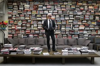 """""""Karl Lagerfeld in a Library,"""" by Stefan Strumbel, a contemporaryGerman artist whom Lagerfeld admired."""