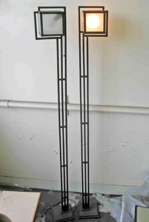 These Frank Lloyd Wright floor lamps, 1924, were originally made for the Freeman House and have been reported stolen.