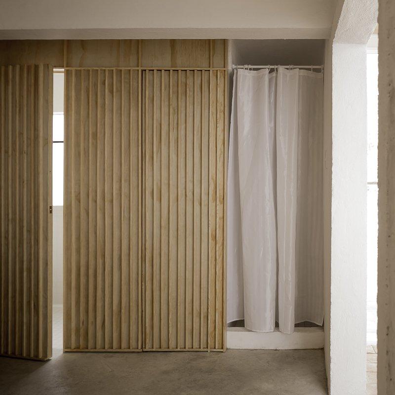 Concrete Floor, Bath Room, Open Shower, and Mosaic Tile Wall  Narvarte Terrace
