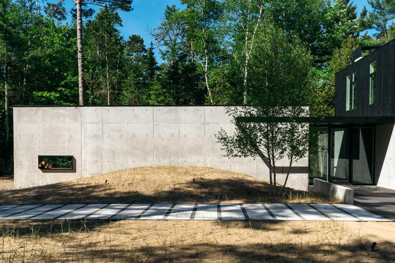 Outdoor, Walkways, Concrete Fences, Wall, Trees, and Grass  Camp MINOH