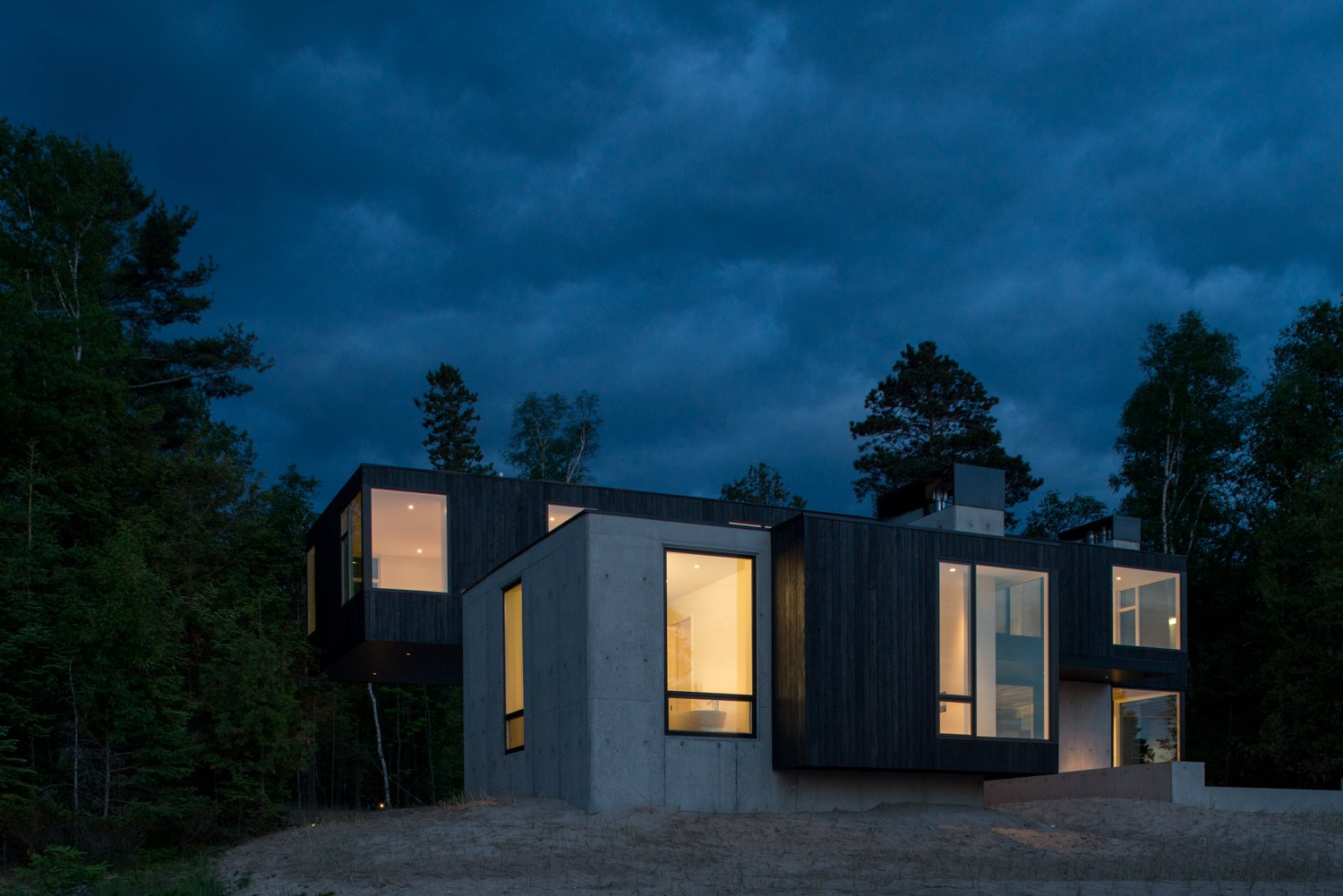 Exterior, House Building Type, Wood Siding Material, Concrete Siding Material, and Flat RoofLine  Camp MINOH
