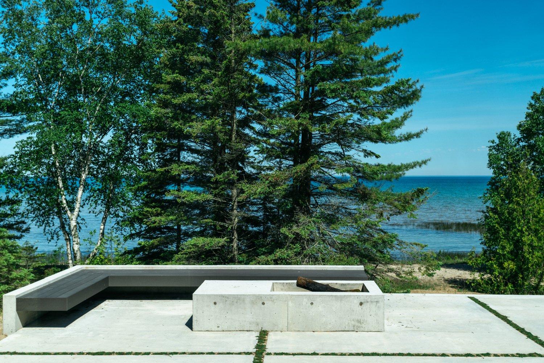 Outdoor, Grass, Concrete Patio, Porch, Deck, Hardscapes, Large Patio, Porch, Deck, Shrubs, and Trees  Camp MINOH