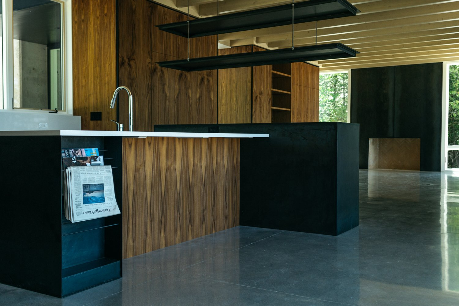 Kitchen, Wood Cabinet, Concrete Counter, and Concrete Floor  Camp MINOH