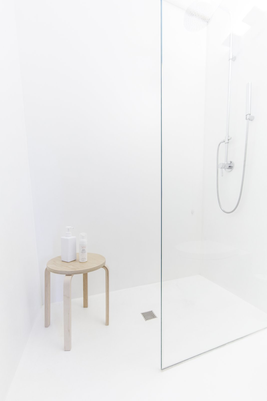 Bath Room, Wood Counter, Concrete Floor, Vessel Sink, Full Shower, Ceiling Lighting, Concrete Wall, Wall Lighting, and One Piece Toilet  Interior LP by Didonè Comacchio