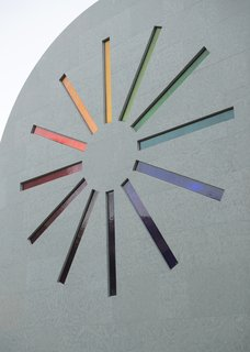 """A stained glass """"starburst"""" design adorns the west façade of Ellsworth Kelly's """"Austin"""""""