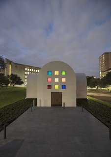 """The south façade of Ellsworth Kelly's """"Austin"""" with an entry door fabricated from live oak"""