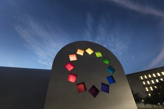 """A stained glass design of """"tumbling squares"""" adorns the east façade of Ellsworth Kelly's """"Austin."""""""