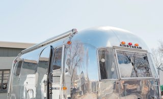 The Airstream's aluminum exterior was brought back to life with a good polish.