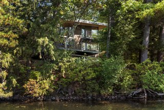 To maximize lake views, a back deck is cantilevered out 12 feet from the house.