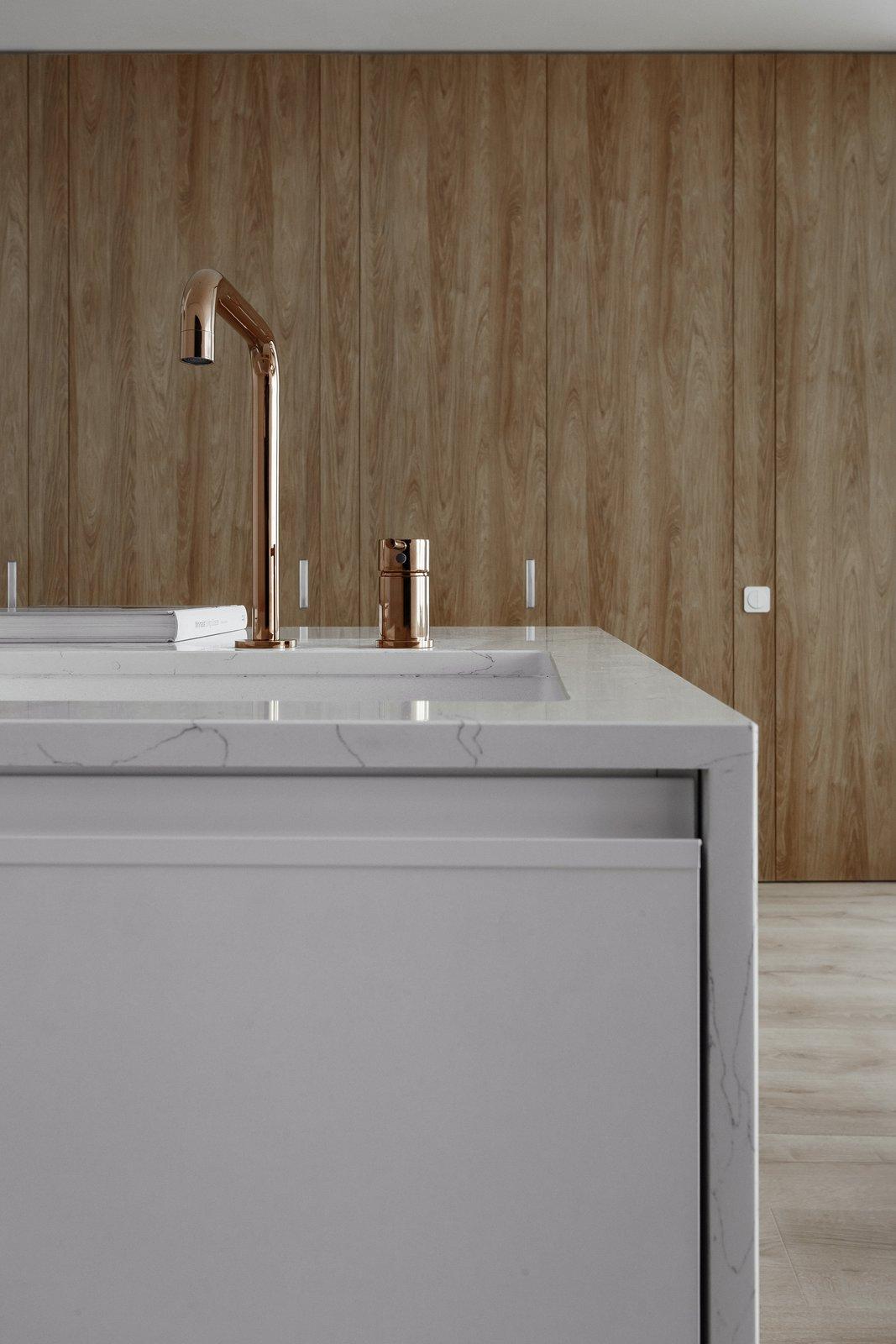 Kitchen, Quartzite Counter, Wood Cabinet, Drop In Sink, Ceiling Lighting, and Light Hardwood Floor  191 Apt.