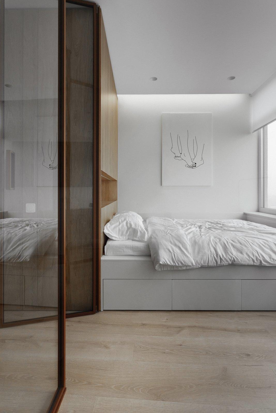 Bedroom, Wardrobe, Light Hardwood, Bed, and Ceiling  Best Bedroom Ceiling Wardrobe Bed Photos from 191 Apt.
