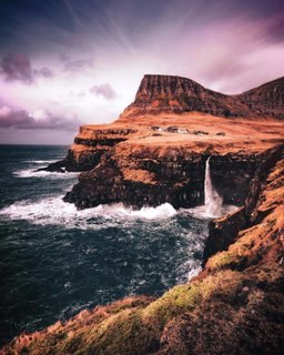 Cascading waterfall Faroe Islands.