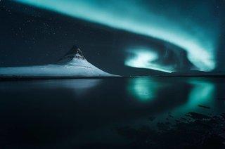 Psychdelic skies in Kirkjufell, Iceland.