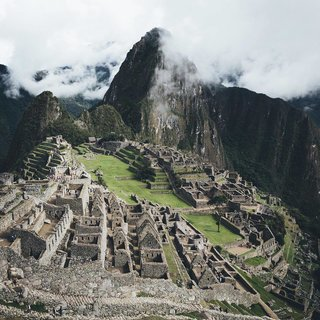 The Inca town at Machu Picchu, Peru.