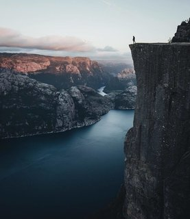 A 600-meter cliff above the fjord at Preikestolen, Norway.
