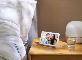 The Google Home Hub screen automatically dims to match environmental lighting conditions.