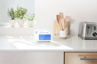 A floating stand gives the smart speaker a sense of lightness, while allowing clean audio to be ported throughout the front.