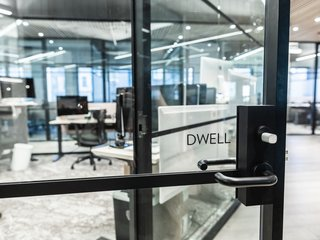 The entrance to Dwell's private office space.