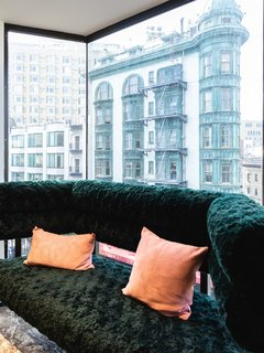 A comfy nook in the board room facing the Francis Coppola Sentinel building.