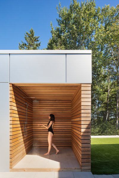 An outdoor shower offers a zen-like sanctuary to wash off the day.