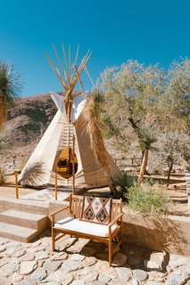 """The teepee is 26' canvas with pine lodge poles. It's simple in construction as it was originally intended to be a nomadic dwelling.  It is extremely reliable in the high desert winds and even great in the rain. We have a small fire pit in there to keep it toasty on cool winter evenings. It's one my favorite places on the property."""