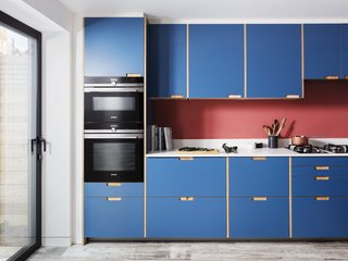 IKEA cabinets get an upgrade with modern Plykea plywood doors.