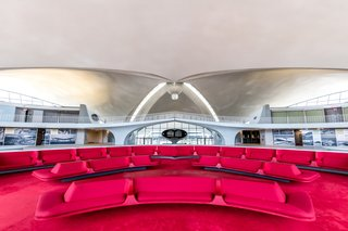 Chili Pepper red is the signature color created by Saarinen for the TWA Flight Center. The hue also inspired Benjamin Moore's 2018 color of the year, Caliente.