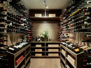 A wine cellar keeps the couple's bottle collection cool.