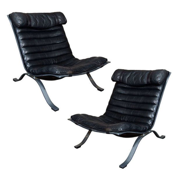 Arne Norell Leather and Steel Lounge Chairs