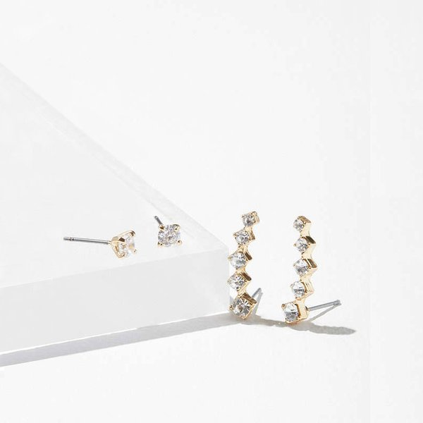 Rhinestone Post + Climber Earring Set
