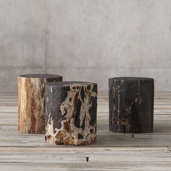 Restoration Hardware Petrified Wood Stump Dark Side Table