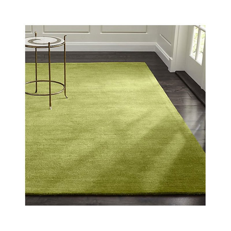 Crate & Barrel Baxter Lemongrass Light Green Wool Rug By