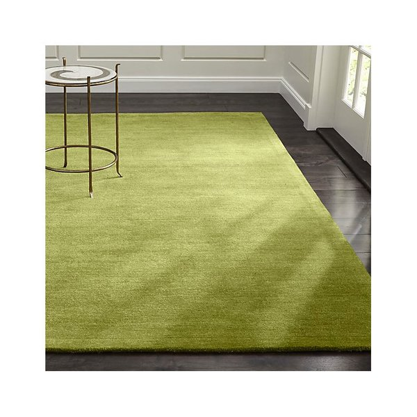 Crate & Barrel Baxter Lemongrass Light Green Wool Rug
