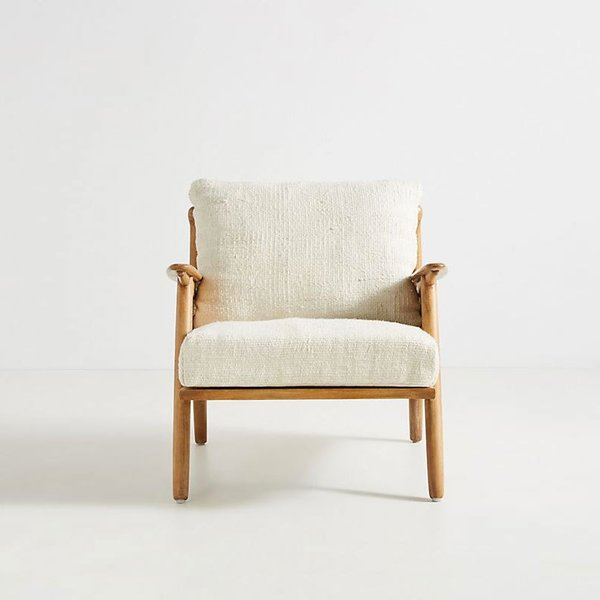 Anthropologie Linen Cane Chair