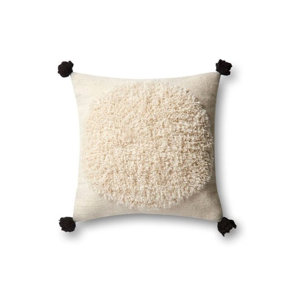 Loloi Ivory + Black Wool Accent Pillow