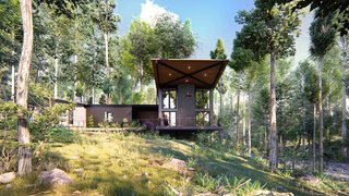 Awesome Visualization Residential 3D Exterior House in Forest, the US