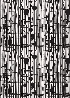 Pottok Lines Forest Wallpaper – Black/Grey