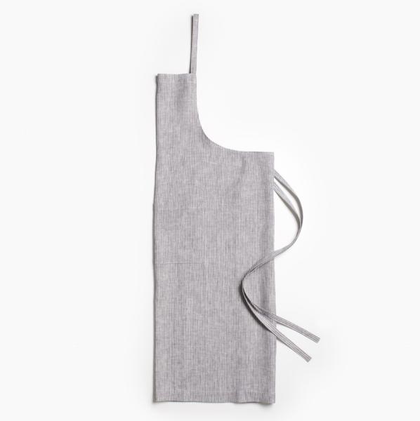 Unison Pinstripe Gray Linen Apron