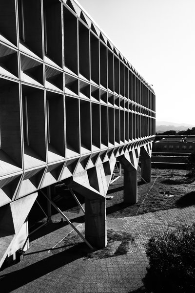 Breuer supposedly ranked this structure of prefabricated concrete panels among his favorites. Its Brutalist facade and bold geometry, suspended above the countryside near Nice, speak to the rationality and cold calculation of his client, the computing giant.